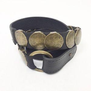 CAbi Belt With Brushed Gold Hammered Conchos